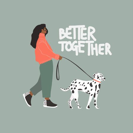 Young girl with Dalmatian dog. Autumn fashion look. Vector flat Standard-Bild - 133333310