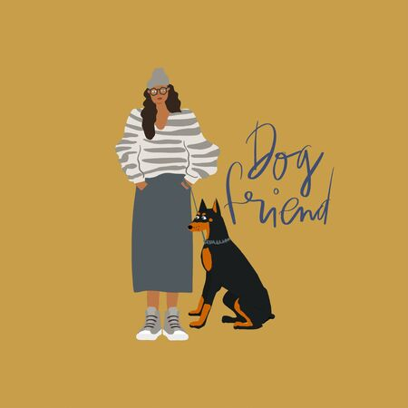 Young girl with Doberman terrier dog on a leash. Freehand drawing text: dog friend. Vector flat illustration