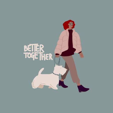 Woman with white scotch terrier dog on a leash. Freehand drawing text: better together . Vector flat illustration Illusztráció