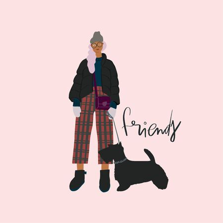 Young girl with black scotch terrier dog on a leash . Autumn look. Vector flat illustration