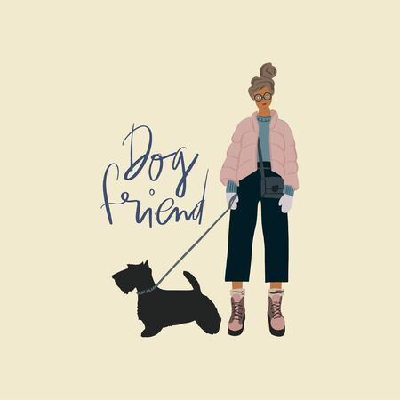 Young stylish girl with scotch terrier dog on a leash. Freehand drawing text: dog friend. Vector flat illustration