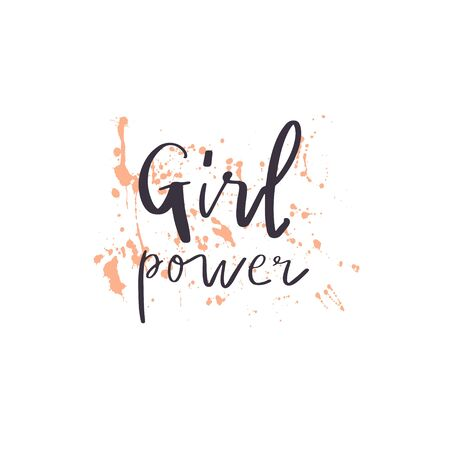 Hand drawn quote : girl power , on paint splash background. Vector illustration