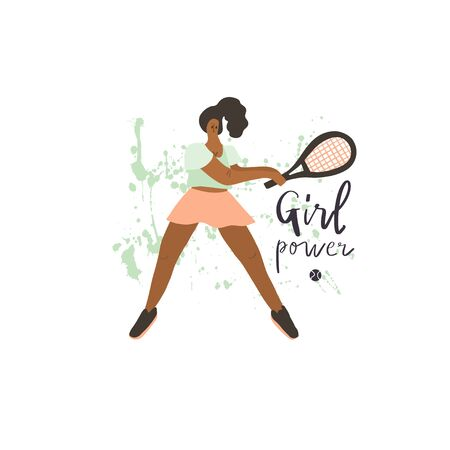 Tennis player girl. Woman with racket and ball on paint splash background. Human figure in motion. Stylized freehand vector flat illustration