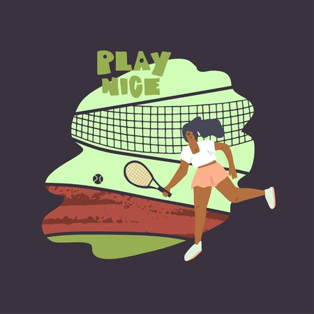 Tennis player girl. Woman with racket and ball on tennis court element background. Human figure in motion. Stylized freehand vector flat illustration