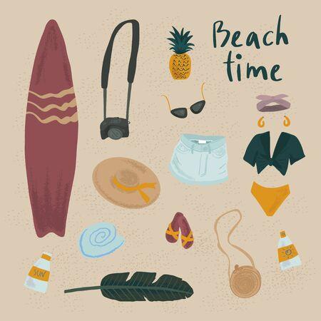 Summer vector objects set. Hand drawn illustration. Surfing beach summer