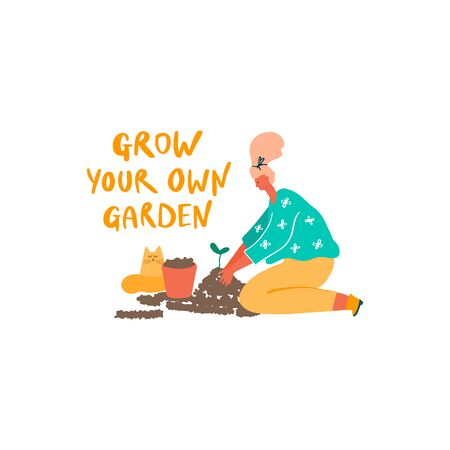 Woman with young plant, pot and cat. Freehand drawn quote: grow your own garden. Vector flat illustration Stock fotó - 137862990