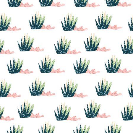 Element of seamless pattern. Vector illustration. Stylized nature plant shapes Çizim