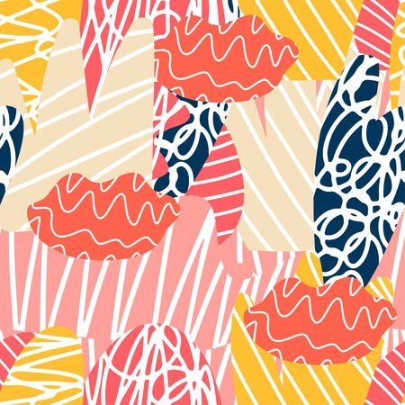 Pop style element of seamless pattern. Colorful abstract shapes. Vector illustration
