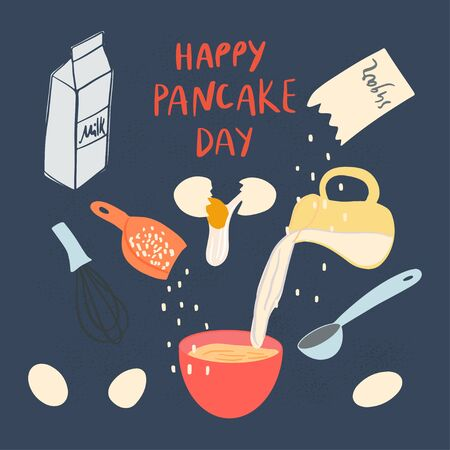 Pancakes making process. Ingredients and cookware. Vector flat illustration