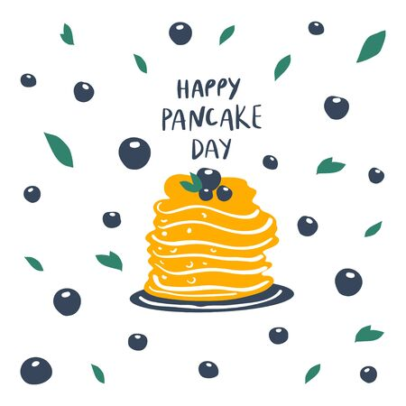Pancakes stack with berries on plate and freehand drawn quote: happy pancake day. Vector illustration 일러스트