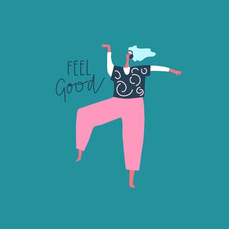 Dancing girl with headphones and hand drawn phrase: feel good. Vector flat illustration