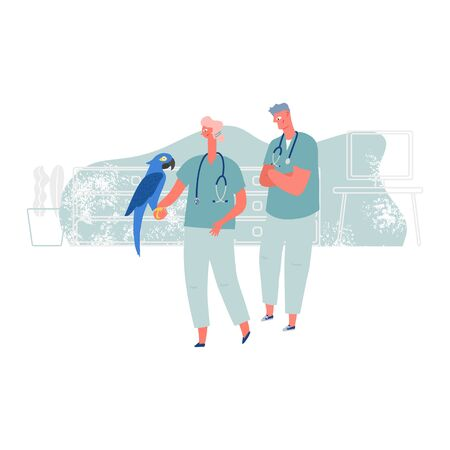 Veterinarian doctors examines big parrot in the veterinary clinic. Concept of medicine and animals care. Vector illustration