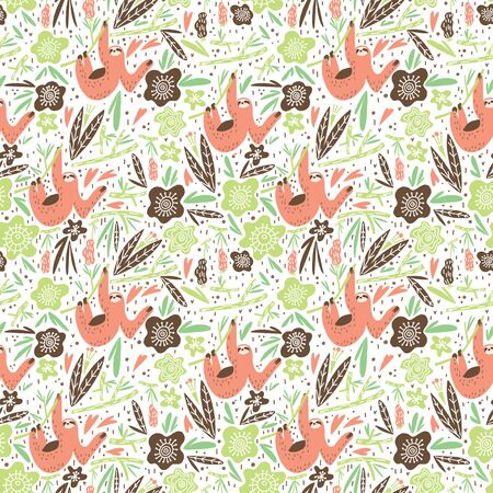 Stylized vector sloth, branch, leaves and fruits vector composition. Element of seamless pattern