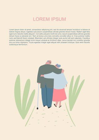 Senior couple in love. Elderly people walking in the park and hug together. Old people in love. Man and woman on the path of life. Caring for each other. Vector hand drawn illustration