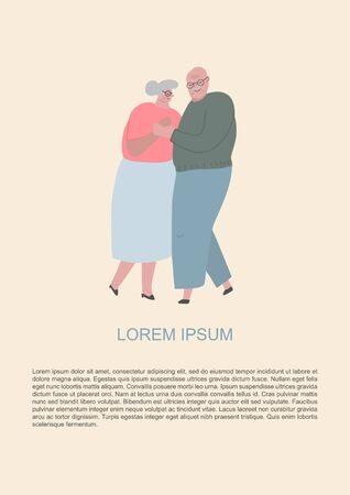 Romance in old age. Elderly people dancing and hug together. Old people in love. Man and woman on the path of life. Caring for each other. Vector illustration, freehand drawing Archivio Fotografico