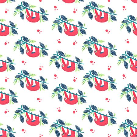 Sloth on branch. Print element. Seamless pattern