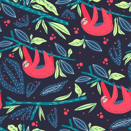 Sloth, branch, leaves and fruits vector composition. Print design. Element of seamless pattern