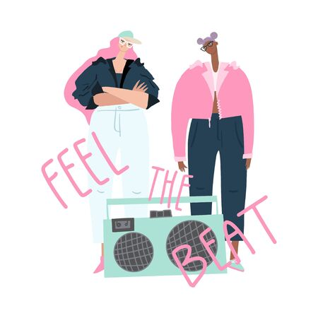 Stylish girls in jackets with boombox and hand drawn phrase : feel the beat. Template for card, cover design and other users. Vector illustration