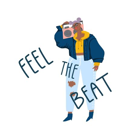 Young girl in casual style with boombox and hand drawn phrase : feel the beat. Card design, template. Vector flat illustration