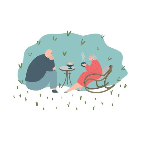 Senior couple in garden. Elderly people together. Old people in love. Man and woman on the path of life. Caring for each other. Vector illustration, freehand drawing