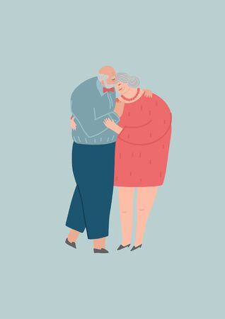 Senior couple. Elderly people hug together. Old people in love. Man and woman on the path of life. Caring for each other. Vector illustration, freehand drawing