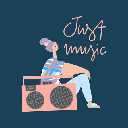 Young girl with boom box and hand drawn phrase : just music. Card design, cover template. Vector flat illustration