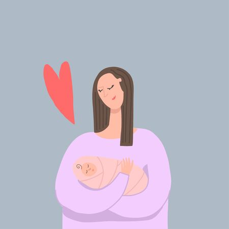Woman with newborn baby. Happy mother. Family love. Vector illustration