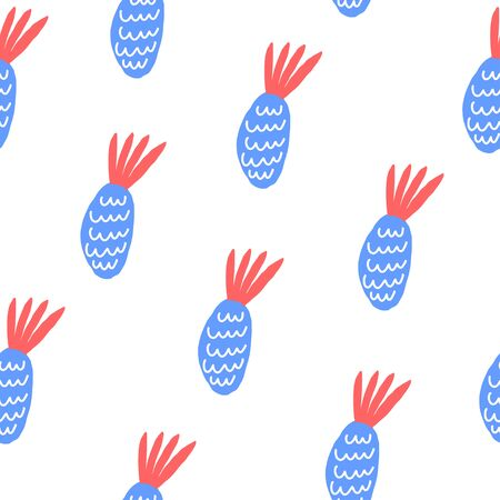 Element of seamless pattern. Stylized pineapples on white background. Vector illustration Archivio Fotografico - 144532631