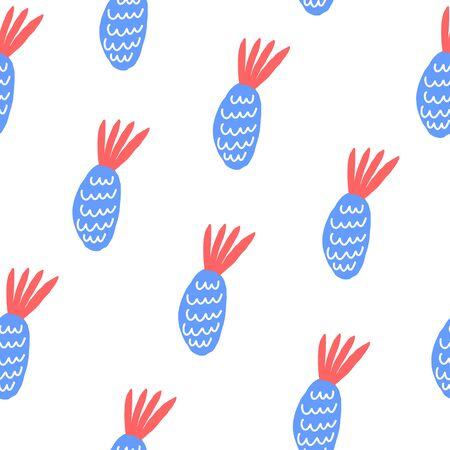 Element of seamless pattern. Stylized pineapples on white background. Vector illustration Vettoriali