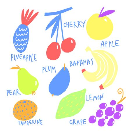 Colorful stylized fruits set. Vector hand drawn illustration