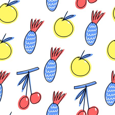 Element of seamless pattern. Simplified fruits with marker pen outlines on white background. Vector illustration