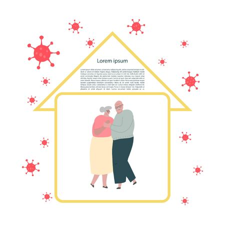 Self-quarantine concept. Older people at home during an outbreak of the COVID-19 virus. Prevent infection spreading. Coronavirus quarantine preventive measures. Vector illustration Ilustração