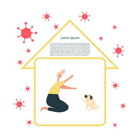 Self-quarantine concept. Activities at home during an outbreak of the COVID-19 virus. Coronavirus quarantine preventive measures. Woman playing with the dog. Vector illustration Archivio Fotografico - 145594365