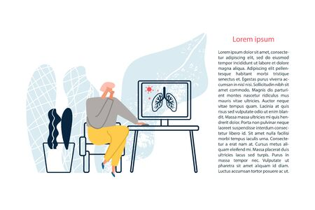 A person searching the information about virus through the Internet. Outbreak of the COVID-19 virus. Prevent infection spreading. Coronavirus pandemic. Vector illustration Archivio Fotografico - 145053392