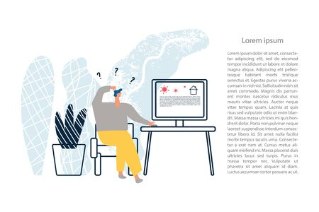 A person searching the information about situation in the world through the Internet. Outbreak of the COVID-19 virus. Prevent infection spreading. Coronavirus pandemic. Vector illustration Vettoriali