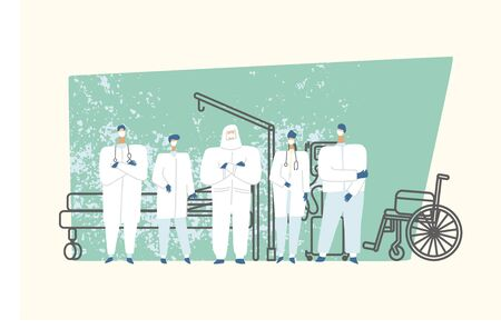 Doctors in a hospital room waiting for the patients, outlines of bed, lung ventilator and wheelchair on background. Medic during the outbreak of the virus. Vector illustration