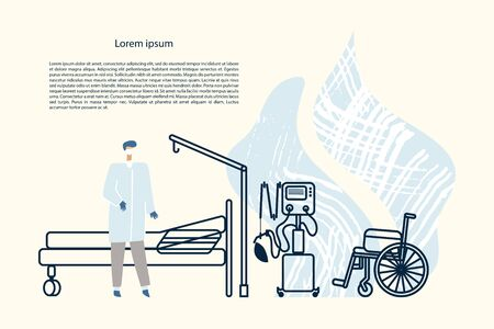 Doctor in a hospital room, outlines of bed, lung ventilator and wheelchair. Vector card template