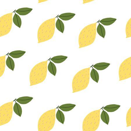 Bright fresh lemons. Vector element of seamless pattern. Archivio Fotografico - 145430851