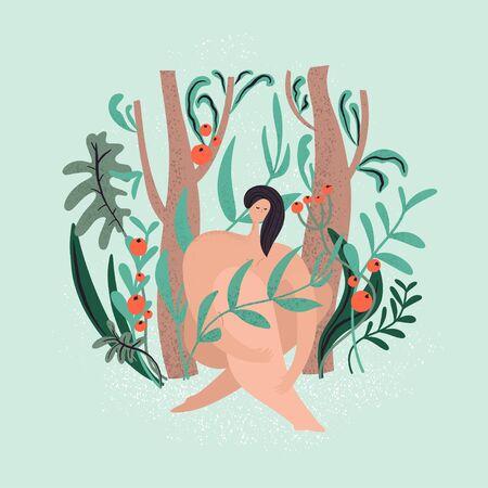 Woman sitting surrounded green plants. Naked body. Vector illustration Ilustracja