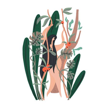 Woman with long hair standing surrounded green plants. Naked body. Vector illustration Ilustração