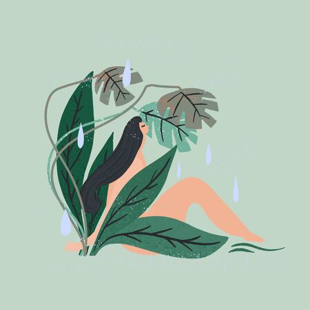 Woman sitting surrounded green plants. Naked body, care by nature. Vector illustration Archivio Fotografico - 147851986