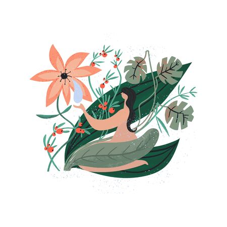 Woman sitting surrounded green plants flower and berries. Naked body, care by nature. Vector illustration