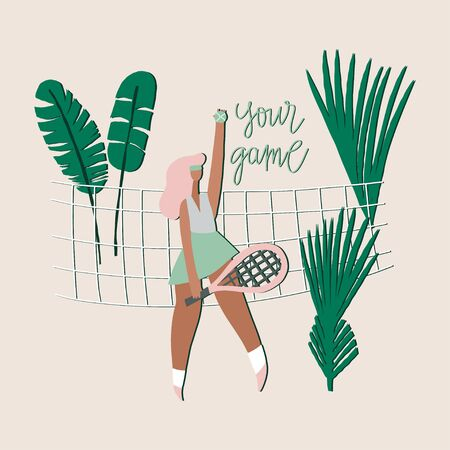 Tennis player girl. Woman with racket, net, palm leaves and freehand drawn phrase : your game. Stylized vector flat illustration Archivio Fotografico - 146801709