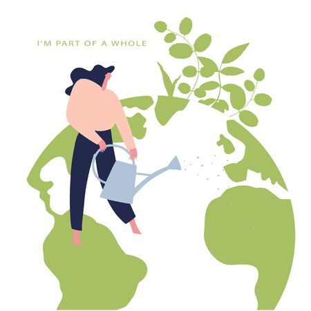 Eco friendly lifestyle hand drawn vector illustration. Woman watering the earth. Card to world environmental day, nature protection, nature saving concept