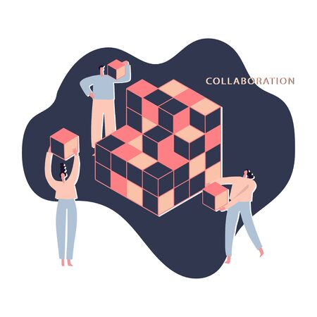Team work and mutual help. Partners, colleagues, people with cube. Part of the whole. Collaboration concept. Coworkers, managers characters. Vector flat illustration