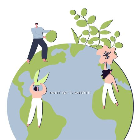 Conceptual eco friendly lifestyle hand drawn vector illustration. Group of people hold part of plans. Card to world environmental day, nature protection, nature saving concept