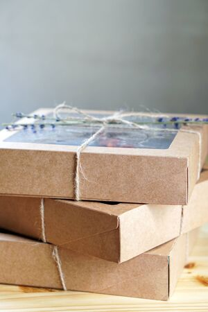 Bakery goods packed in an box. Ecological package concept photo Archivio Fotografico - 150019132