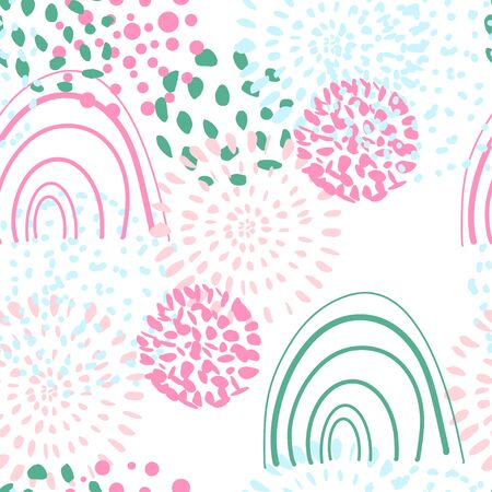 Doodle style element of seamless pattern. Colorful abstract shapes. Vector illustration, print design, background template