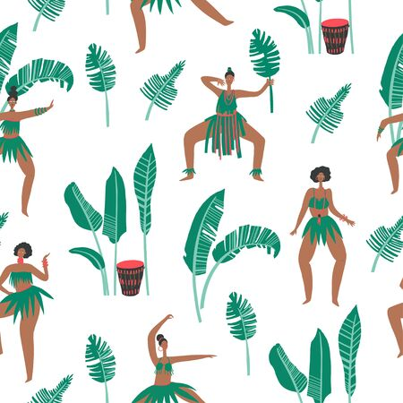 Dancing women , drums and palm leaves patterne. Vector print element Archivio Fotografico - 150019432
