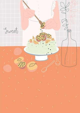 Woman making beautiful cake with fruits. Home bakery. Vector template for design of postcard, print, cover and other users Archivio Fotografico - 150220393